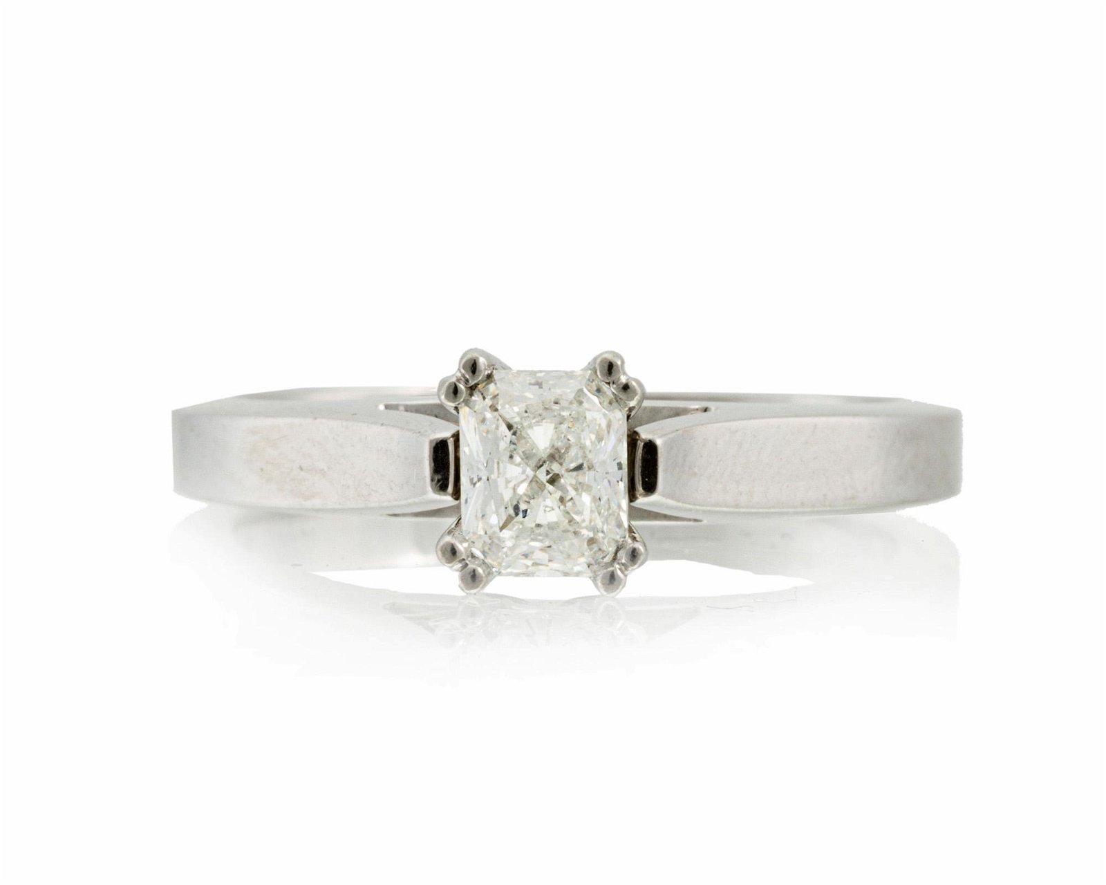 A radiant-cut diamond ring