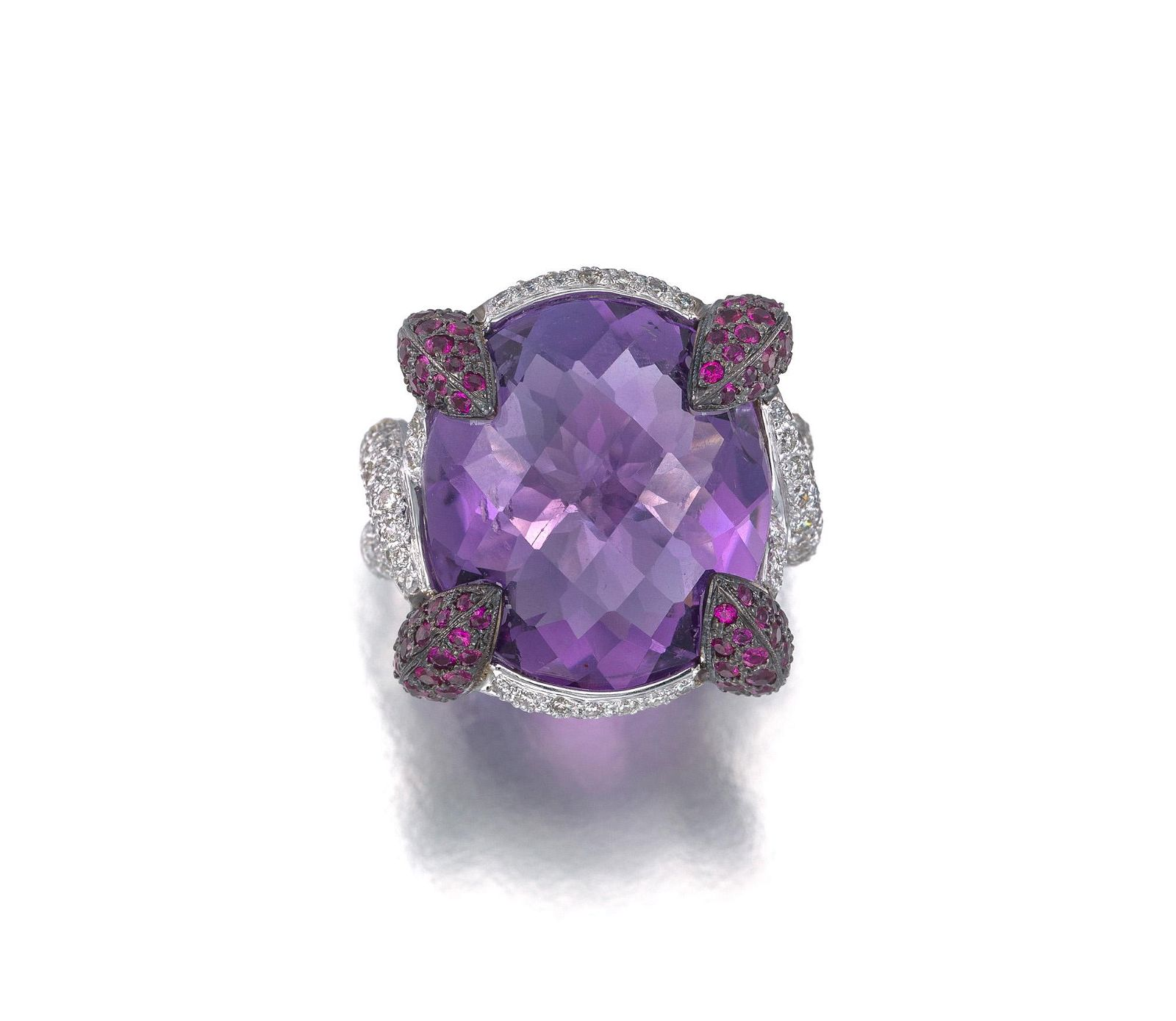 An amethyst, diamond, and ruby ring