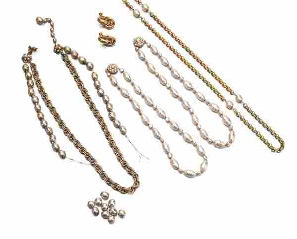 A group of Miriam Haskell costume jewelry