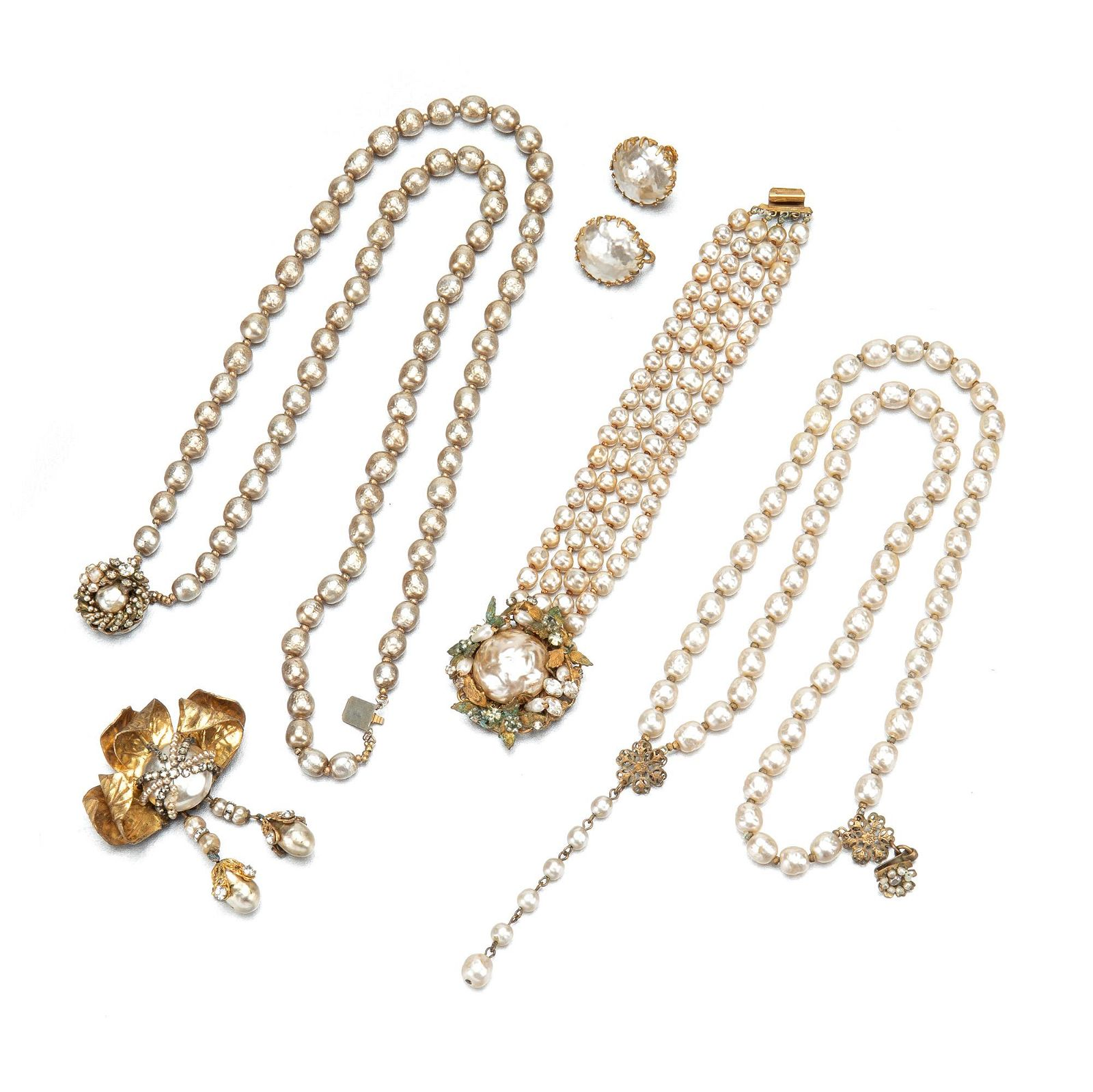 A group of costume jewelry, including Miriam Haskell