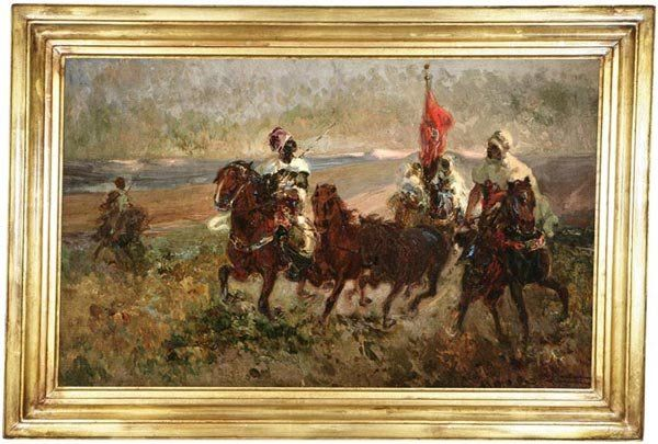 1165: Continental School, Arab riders on horseback, oil