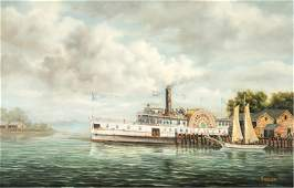 Sidewheel paddle steamer at the dock