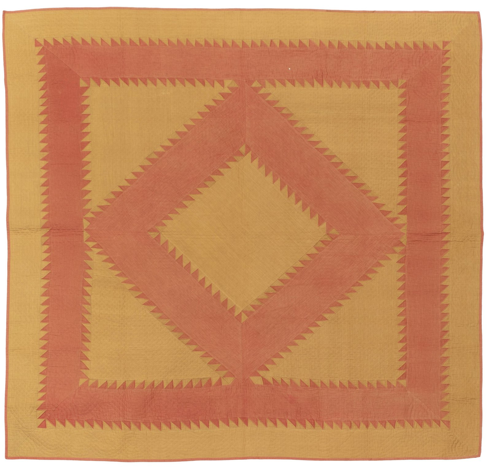 An Amish Diamond Sawtooth in Square quilt