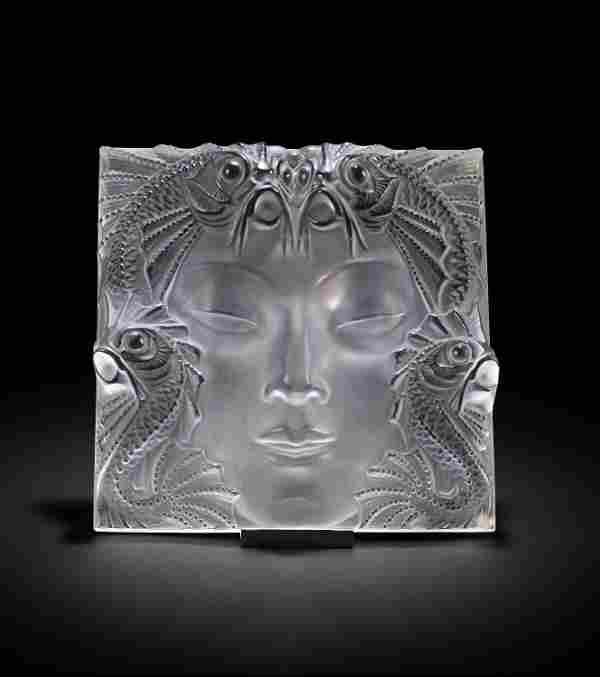 """A Lalique """"Masque De Femme"""" frosted art glass mask with"""