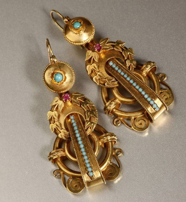 1216: Pair Victorian blue stone and ruby ear pendants