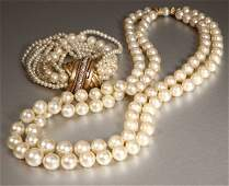 1221 A group of cultured pearl and diamond jewelry