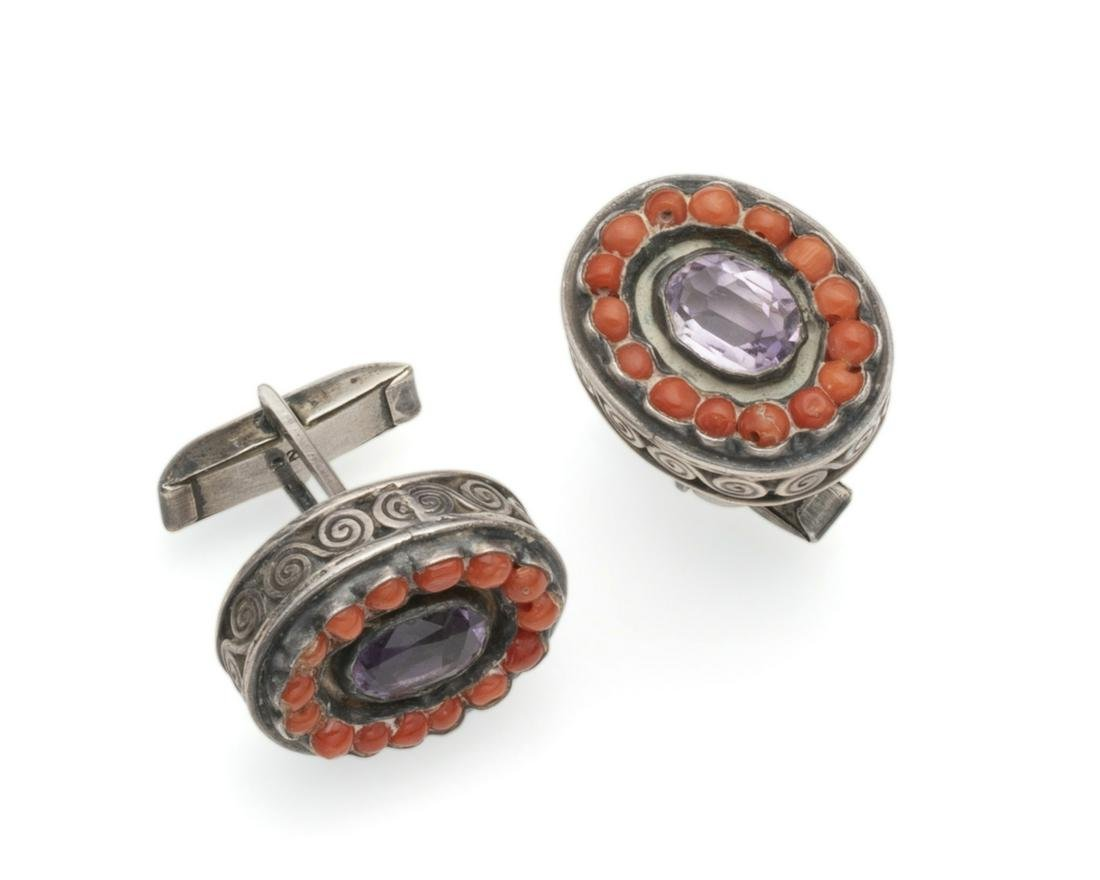A pair of Matl gem-set cufflinks