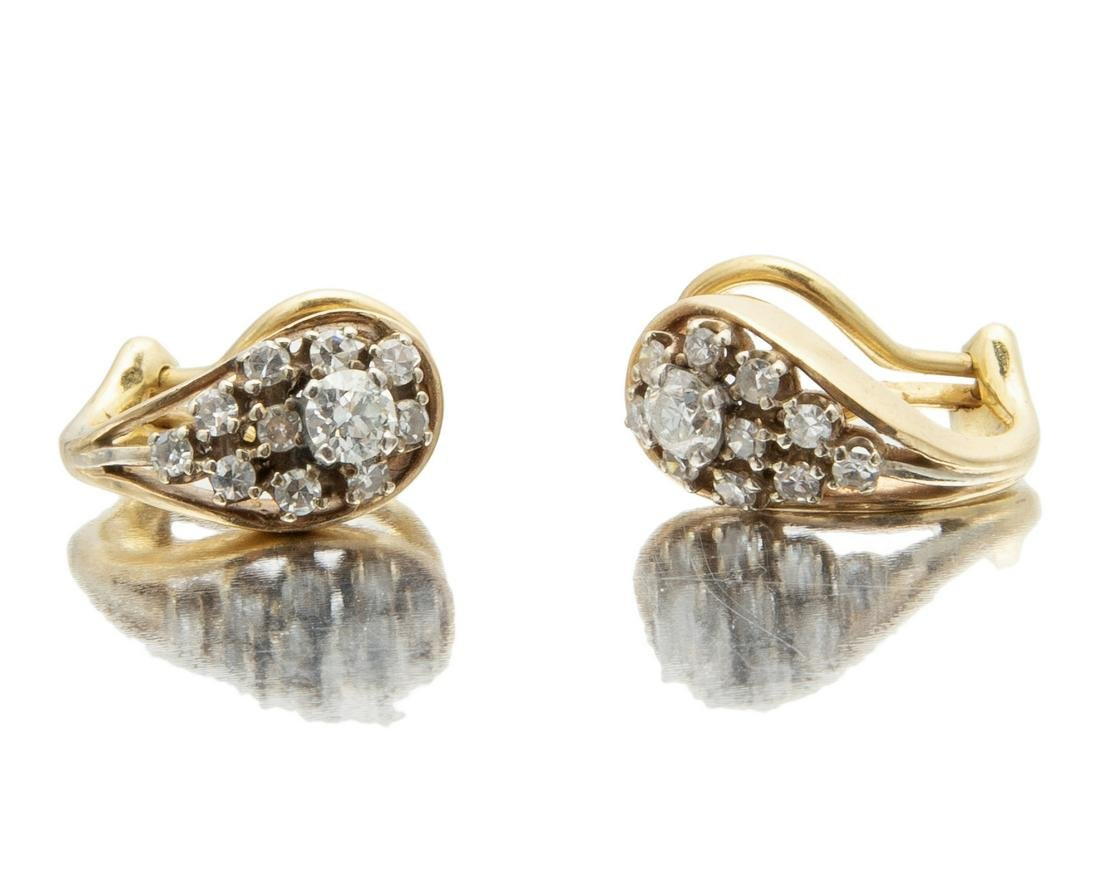 A pair of late Art Deco diamond ear clips