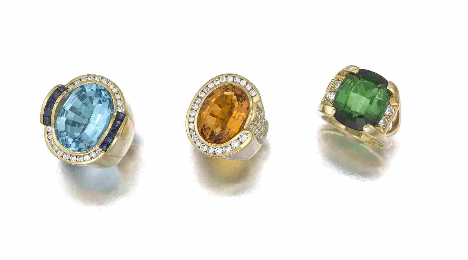 Three diamond and gem-set rings