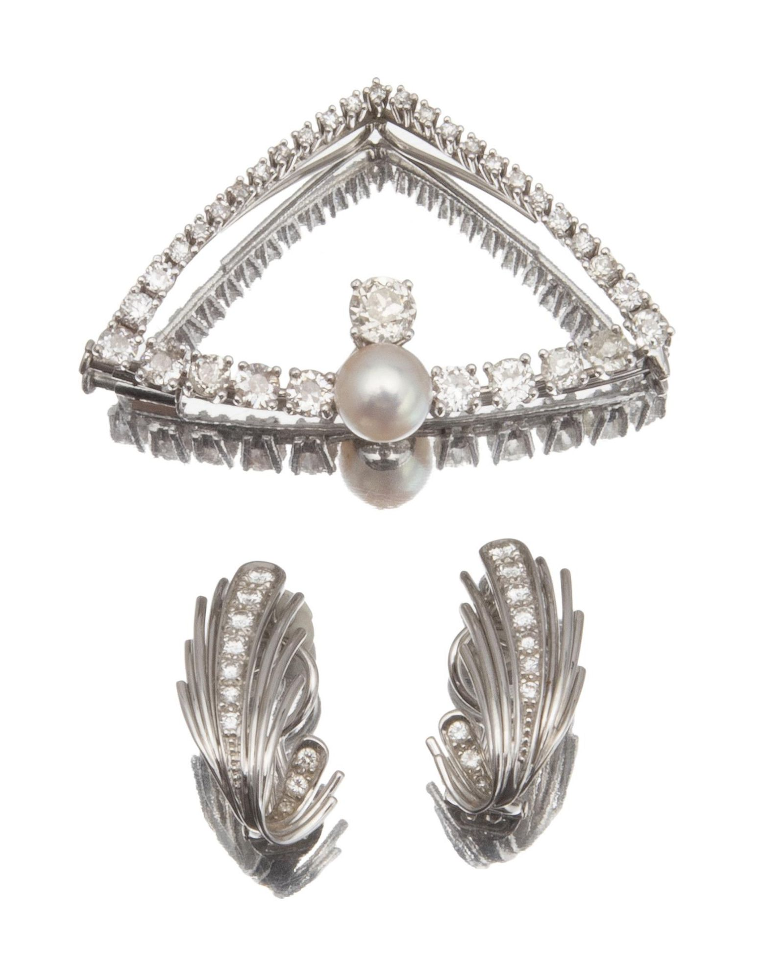 A group of diamond jewelry items