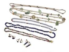 A group of bead jewelry