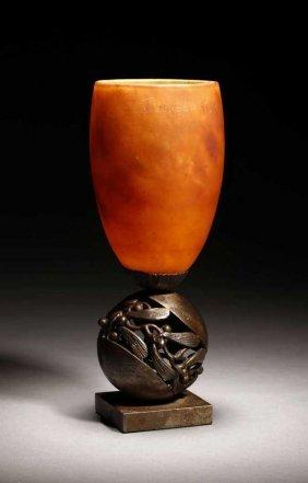 2008: An Edgar Brandt & Daum Nancy glass & metal lamp
