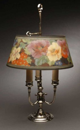 A Pairpoint Floral Glass Silvered Bouillotte Lamp