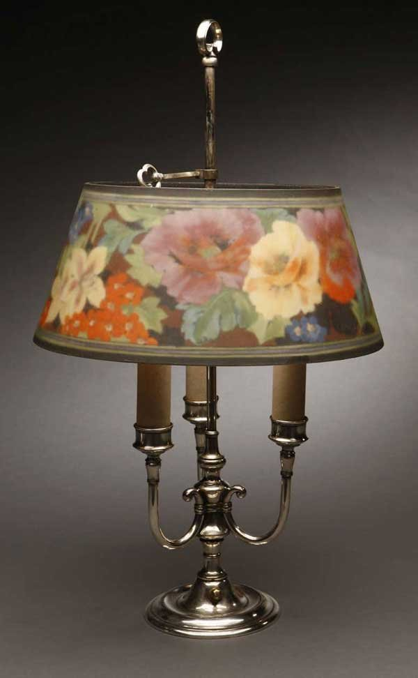 2009: A Pairpoint floral glass silvered bouillotte lamp