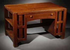 2010: A Limbert Arts & Crafts oak writing table #1128