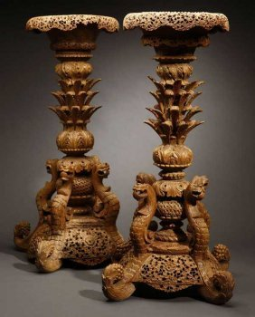2019: A pair of Anglo-Indian hardwood jardiniere stands