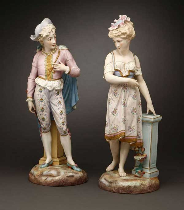 2177: Pair French Paris Baury & Vion porcelain figures