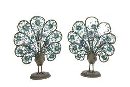 A pair of beaded bronze peacock table lamps