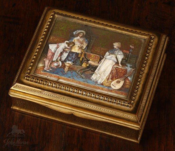1001: A French bronze box miniature scene M. Guillermin