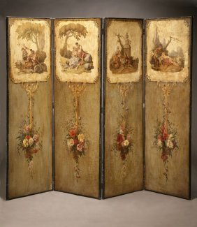 Louis XVI Style Painted Canvas Four Panel Screen