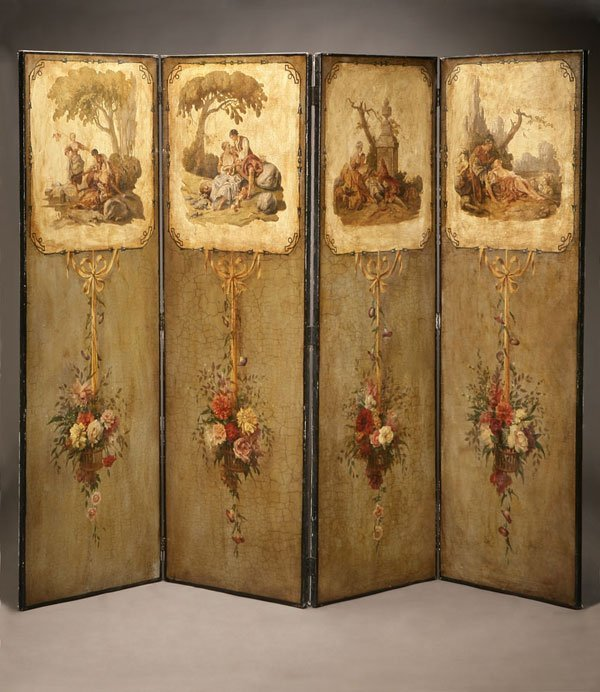 1009: Louis XVI style painted canvas four panel screen