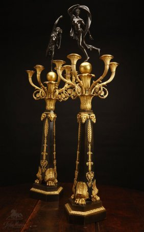 1010: A pair of Empire style ormolu & bronze candelabra