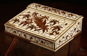 1013: A French ivory and marquetry lap desk, Duvinage