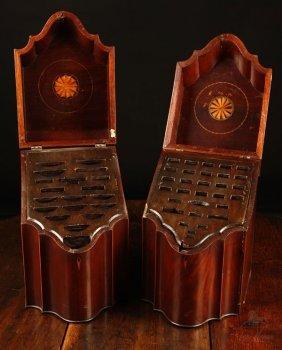 1014: Matched pair Federal inlaid mahogany knife boxes