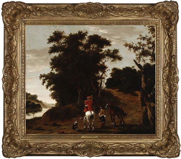 1020: Dutch School, 18th / 19th century, cavalier, oil