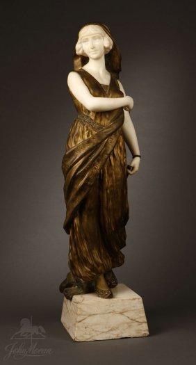 1031: After A. Gori Italian bronze marble Eastern Woman