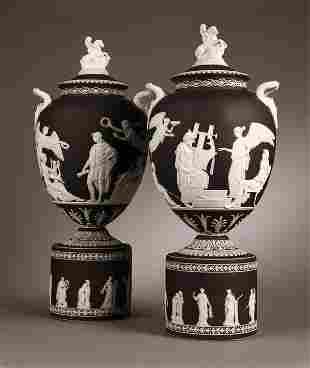 1107: Pr Wedgwood black & white jasperware Pegasus vase