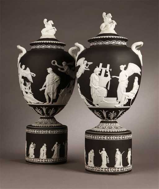 1107 Pr Wedgwood Black White Jasperware Pegasus Vase