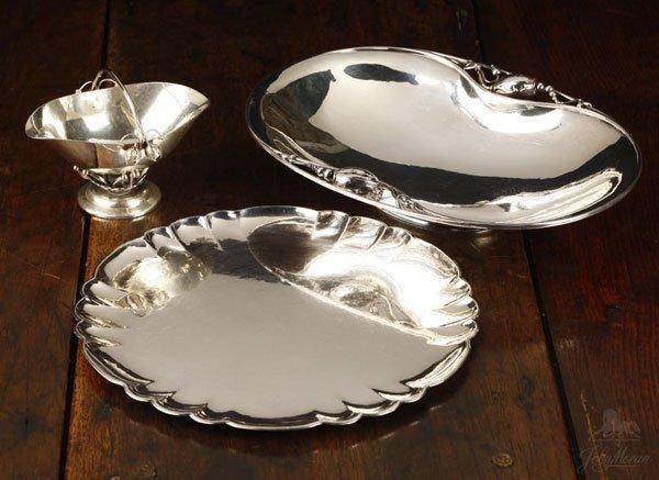 1137: Georg Jensen sterling caddy, bowl, tray, Blossom