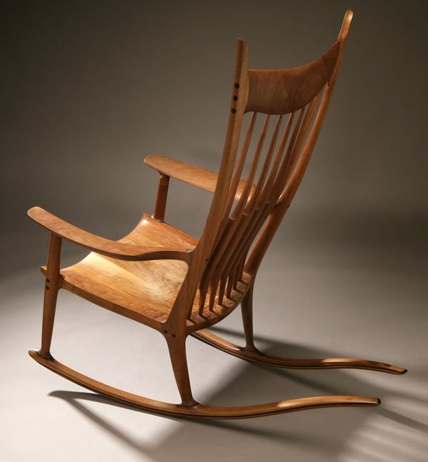 1154: A Sam Maloof walnut and ebony rocking chair