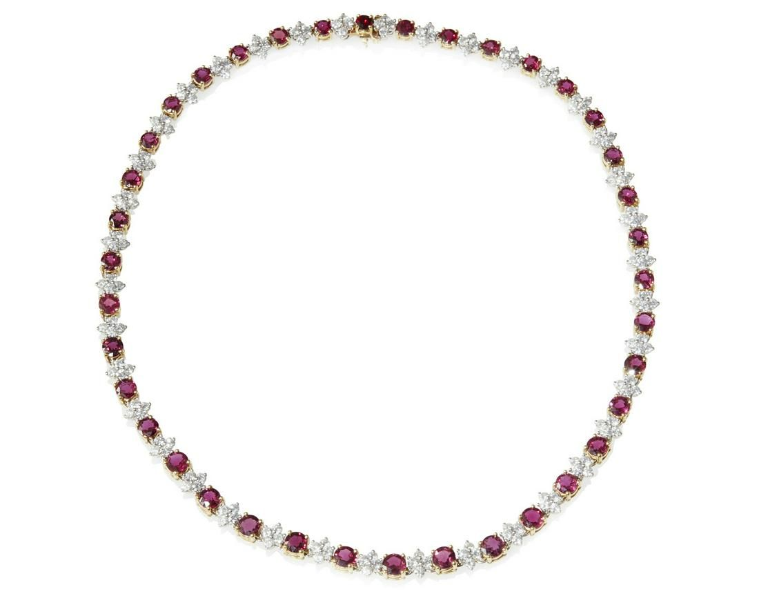 A Tiffany & Co. ruby and diamond necklace