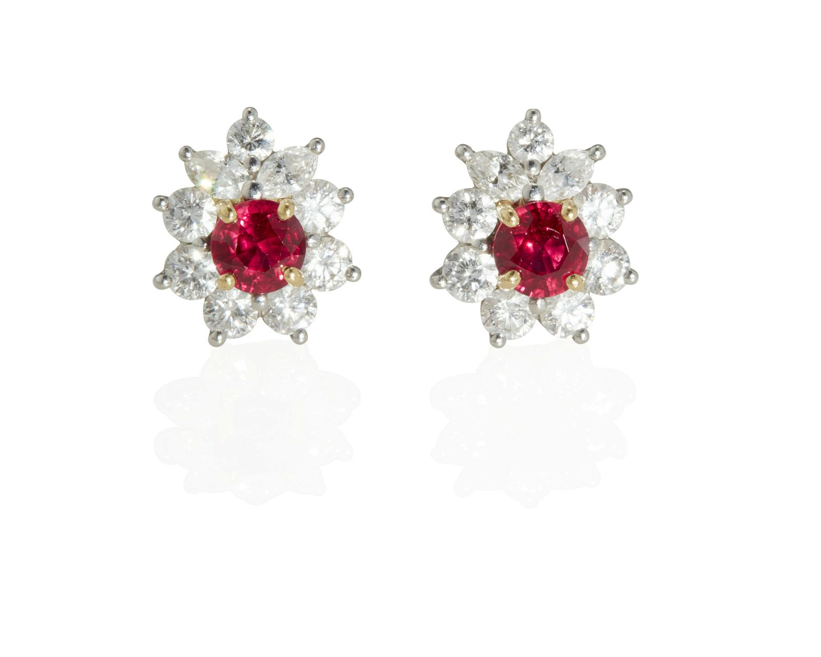 A pair of Tiffany & Co. ruby and diamond ear studs