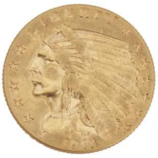 A 1913 Indian Head $2 1/2 coin
