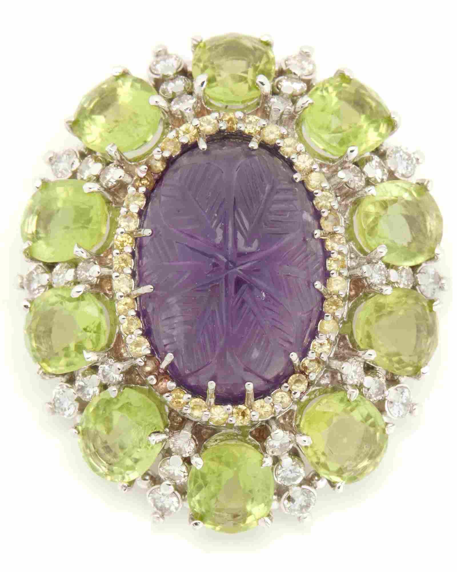 An amethyst, peridot and diamond pendant