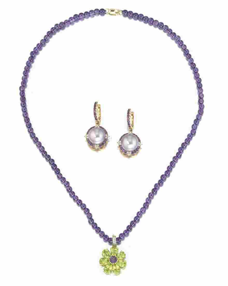 A group of amethyst jewelry items