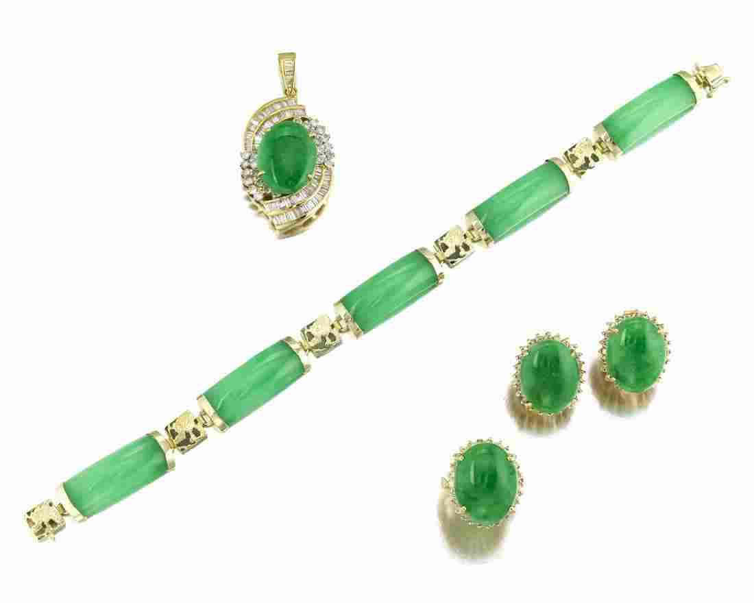 A group of jade jewelry items