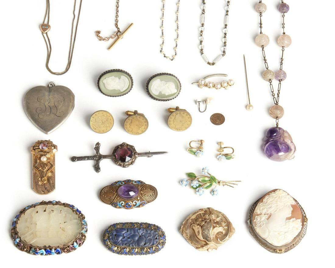 A group of Antique costume jewelry