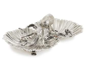 A Buccellati sterling silver octopus centerpiece