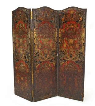 A Spanish-style tooled leather folding screen
