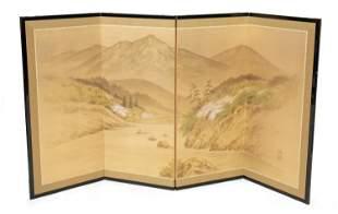 A Japanese Fuji-Tori folding screen