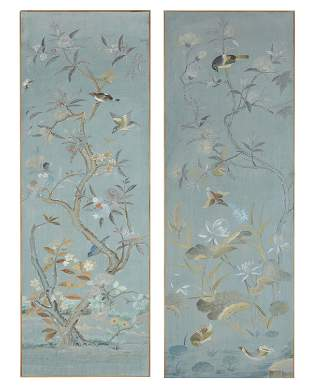 A pair of Chinoiserie-style wall panels