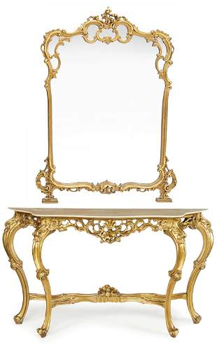 An Italian Rococo-style console table and mirror
