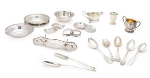 A group of sterling silver flatware items