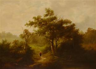Two figures walking along a forest path