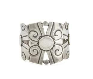 """A William Spratling """"Nahui Ollin"""" silver cuff bracelet"""