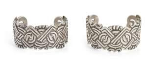 A pair of William Spratling silver cuff bracelets